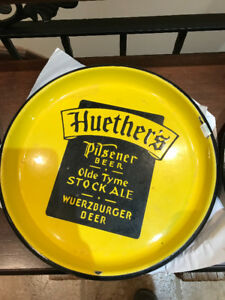 VINTAGE HUETHER'S PILSNER BEER OLDE TYME STOCK ALE BEER TRAY