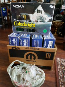 5 boxes outdoor green christmas lights and clips