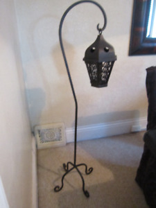 TALL WROUGHT IRON FLOOR CANDLE HOLDER-GREAT FOR IN/OUTDOORS