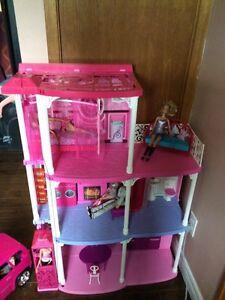 Barbie Dream House, Limo Van + 9 dolls & accessories
