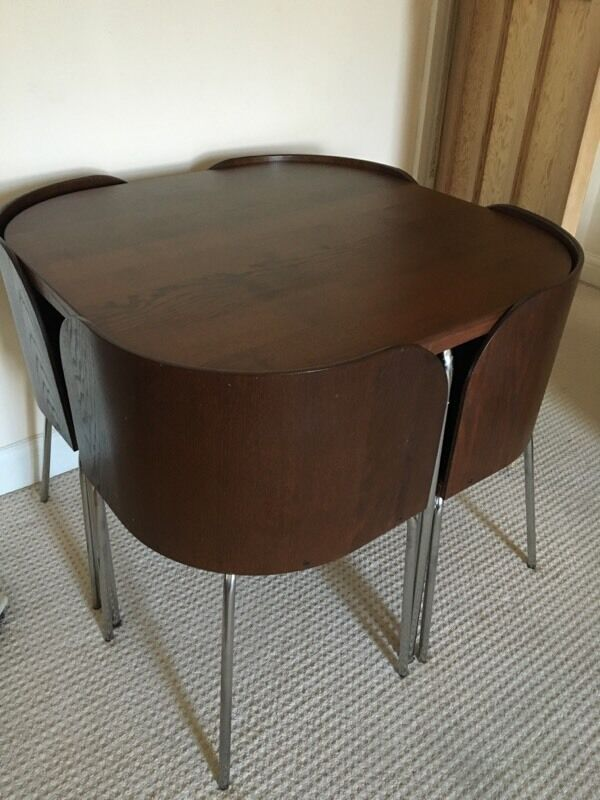 Ikea Fusion Compact Space Saving Dining Table 4 Chairs Dark Brown In Enfield London Gumtree