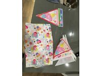 Pepper pig party! Plastic table Mat and 2 bunting sets