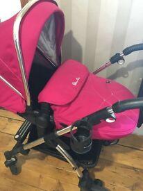 Silver cross pioneer pink pushchair silver cross car seat an adaptors