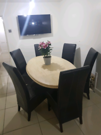 Authentic Marble Effect Granite Dining Table + Base
