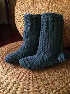 Knit slipper boots