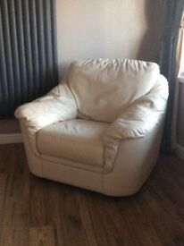 FREE Three piece cream real leather suite