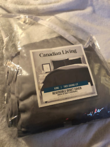 Solid 250-Thread-Count Reversible King Duvet Cover - Charcoal