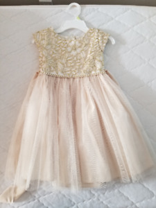 Beautiful Ivory and Gold Princess Dress