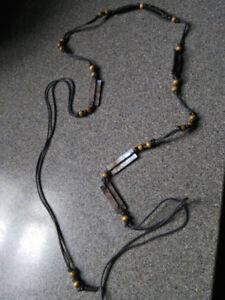 Shell and bead string belt/ wooden bead bracelet & beads