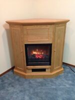 Fire Place-Oak Finished Electric, Has storage compartments