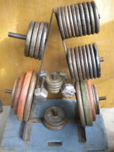 538lb CAST IRON WEIGHTS BARBELL STAND RACK & BELT WILL DELIVER