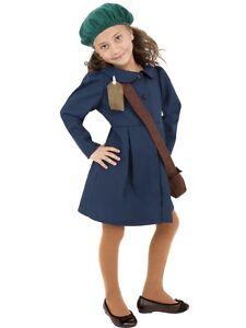 Child Age 10-12 World War II Evacuee Girl Kids Fancy Dress 1940s Costume (Large)