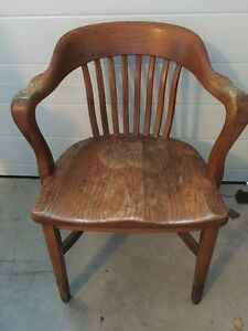 For Sale: Vintage Solid Oak Office Chair