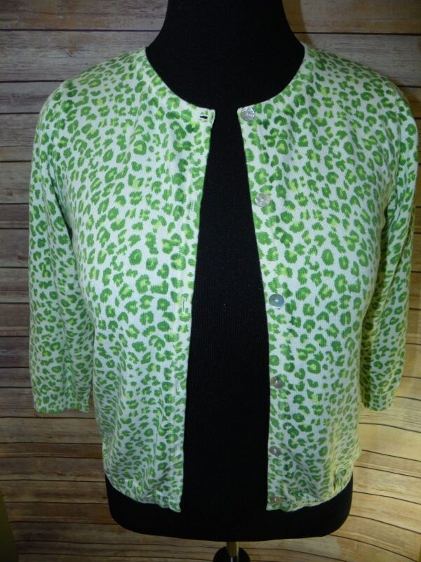 Green 3/4 Sleeve Leopard Print Cardigan Button Front Sweater Women's Small