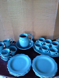 MOVING SALE: Dish Set - Blue/green 8-piece setting