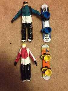 Snowboarding plastic M/F figures n finger board boots $25both Cambridge Kitchener Area image 1