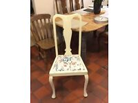 4 vintage Shabby Chic distressed Queen Anne chairs Annie Sloan