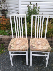 2 White Metal Dining Chairs