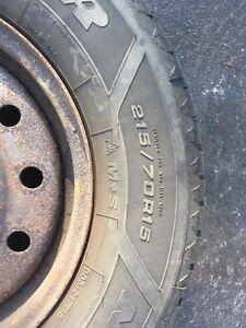 "215/70R15 Goodyear winter tires 10/32"" thread on steel rims"