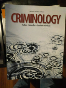 Criminology second canadian edition