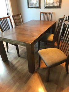 Wood table & 6 chairs for sale