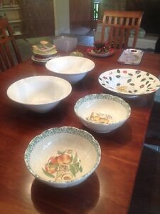 5 large ceramic bowls