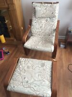 Two Poang Ikea chairs with stools