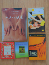 Set of massage, yoga and wellbeing books