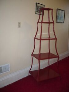 PIER ONE RED METAL SHELF UNIT