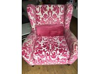 Pink & cream armchair