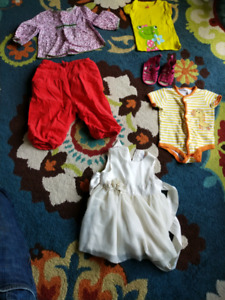 Box of girl clothes & shoes - 6 to 18 months