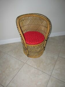 Child's Wicker Chair with Chair Pad