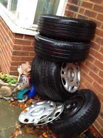 "BMW steel wheels 15"" 5 stud w/ tyres!"