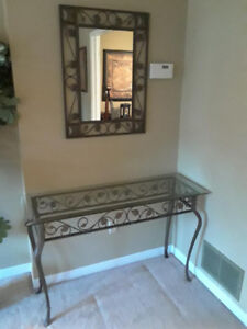 WROUGHT IRON TABLE with GLASS TOP and MIRROR