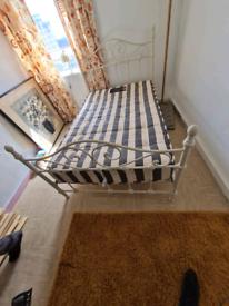 White metal double bed frame &big orthopaedic mattress £125