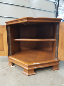Maple octagonal end tables with closed in storage 2 of them only