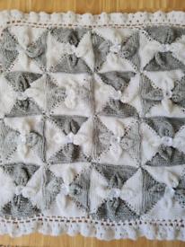 Handmade pram blanket new grey & white