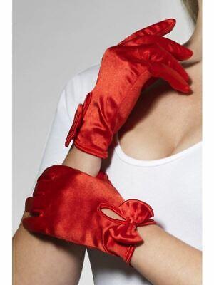 Rosso Corto Burlesque Mago Guanti con Fiocco Donna Accessorio Vestito
