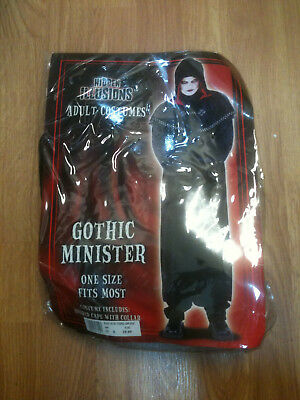 HALLOWEEN Gothic Minister Adult Costume - NEW- One Size Fits Most
