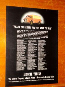 1937 AUTOCAR TRUCK DEALERS LIST AD + MOUNT VERNON WHISKEY