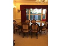6 seater antique dining table with 6 chairs