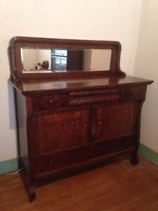 Antique Sideboard/ Buffet with mirror on casters