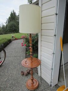 Maple floor lamp with table top