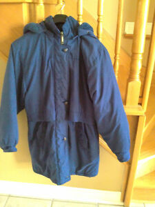 Women's blue embroidered parka jacket winter coat Large