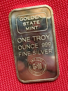 1 oz Golden State Mint 999 Fine Silver Bar ~ ISO 9001