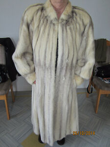 Mink fur coat, silver and white