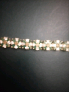 9.25ct Genuine White Topaz and Emerald Fancy Tennis Bracelet