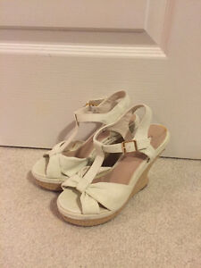 White canvas wedge sandles - size 6