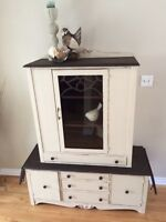 Unique Antique Solid Wood Sideboard and Hutch