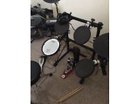 Roland electric kit with Laney amp single pedal stool and all cables etc